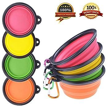 Lot de 4 bols PetBonus en silicone pliable pour animal domestique - Gamelles de voyage pour chien et chat - Sans BPA -Passent au lave-vaisselle - 4 couleurs