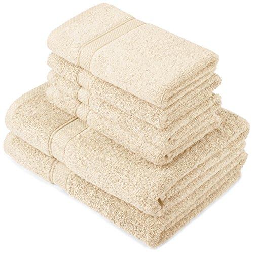 Pinzon by Amazon - Set di asciugamani in cotone egiziano, 2 asciugamani da bagno e 4 per le mani, colore: panna