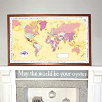Butler and Hill Yellow Coloured World Traveller Wall Map Framed in DarkWood