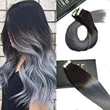 Sunny 24 pulgada 50g/20pcs Dip Dye Natural Negro a Gris Azul 100% Real Remy Cabello Humano Extensiones Tape in Pelo