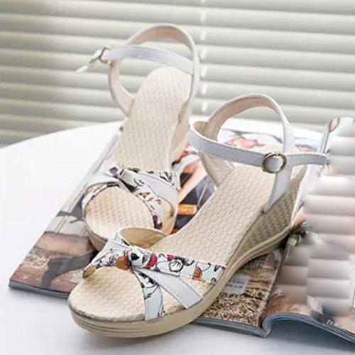 Koly_Sandali di estate delle donne dei cunei Infradito Ppen Toe High-tacco Scarpe Donna Bianco