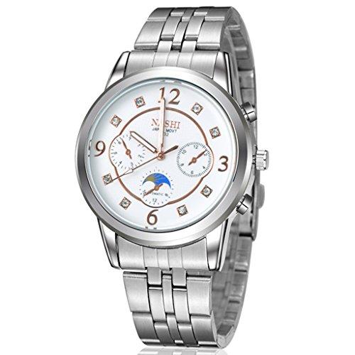 Unendlich U Fashion Casual Herren Armbanduhr Weiß Zifferblatt Edelstahl Armband Wasserdicht Analog Digital Quarz Uhr