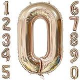 Backbuy 40 Zoll Riese Helium Folie Nummer 0-9 Roségold Ballon Geburtstag Hochzeitsfeier Digitale Dekorationen Nummer 0