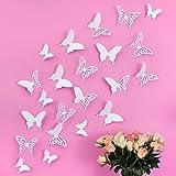 Mariposas 3D Wandkings de color BLANCO con detalles, conjunto de 12 piezas con puntos adhesivos