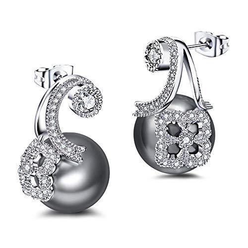 Zjuki Ohrringe Synthetische graue Perle Weiß Kubikzircon Pendientes Tropfen Ohrringe Schmuck Mädchen Zubehör Einzigartige Party -