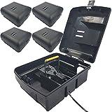 4x Köder-Station mit einer Schlag-Falle für Mäuse Köder-Box + passende Snap Mausefalle Mäuseköderbox für Giftköder oder Mäusefallen