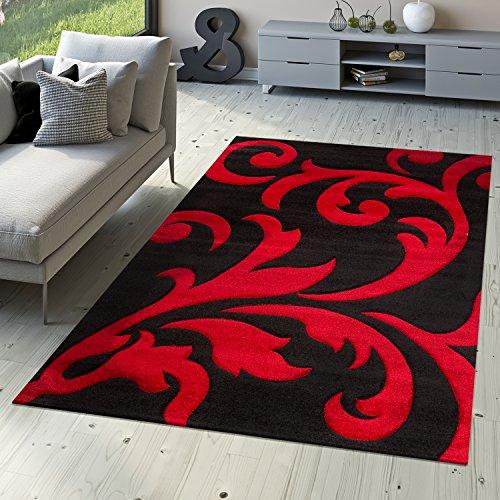 Designer Alfombra Salón Alfombra Moderna Levante con floral patrón rojo negro, 200 x 290 cm