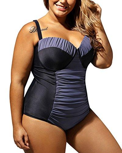 Minetom Übergröße Badeanzug Bandeau Push Up Bikini Neckholder Bademode Triangle Sommer Beiläufig Sexy Badekleidung Monokini Blau DE 40