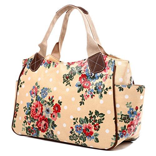 Miss Lulu-Tela cerata da donna, motivo floreale, da bambina, motivo: gufo a pois con farfalla Day Borsa Shopper Borsa da viaggio (Flower Beige)
