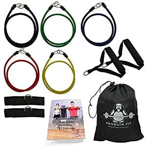 Resistance Bands Set by Penguin Fit - for Men and Women - Tone at Home with Free BONUS 101 Exercise Booklet - 5 Quality Fitness Tubes, Door Anchor, Handles, Ankle Straps and Carry Case