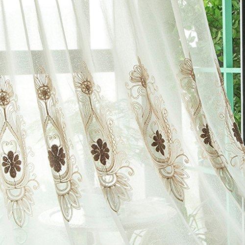 etopfashion Floral bestickt Sheer Vorhänge Rod Tasche Zimmer Fenster Vorhang Sheer Voile Panel Vorhänge Vorhang Drapierung Panel Sheer Schal Volants 39x 78inch E-3 (E3-panel)