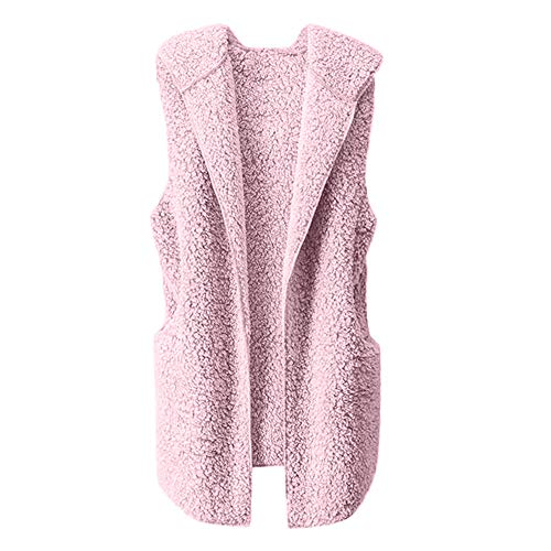 ESAILQ Damen Weste Winter Warm Hoodie Outwear Faux Reißverschluss Sherpa Jacke(L,Rosa)
