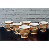 Farkrafts Ceramic Golden Brown Gloss Finish Tea And Coffee Cups (Set Of 6)