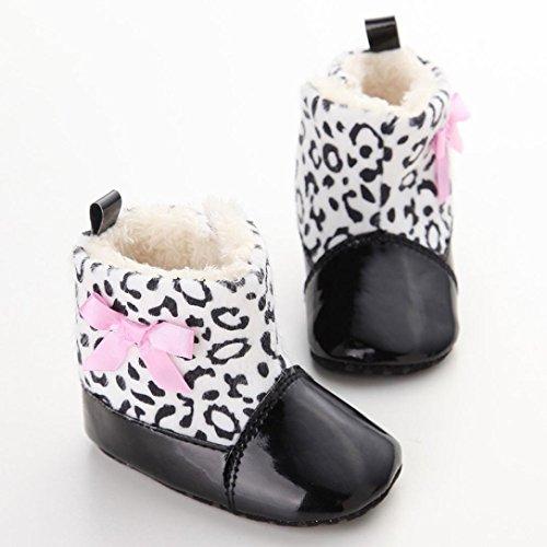 Clode® Kleinkind Baby Mädchen Warm Halten Bogen Leder Schneestiefel Weiche Sohlen Krippe Sprenkel Schuhe Stiefel Winterstiefel Schwarz