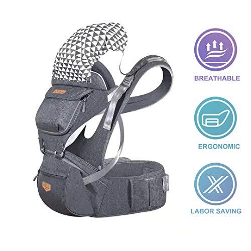 JooBebe Marsupio Neonato Ergonomico Porta Bebè 6 in 1 Regolabile Portatile Baby Carrier Hip Seat con Cappuccio Rimovibile Grande Cotone per Da 6 a 36 Mesi(75 cm o più in alto)