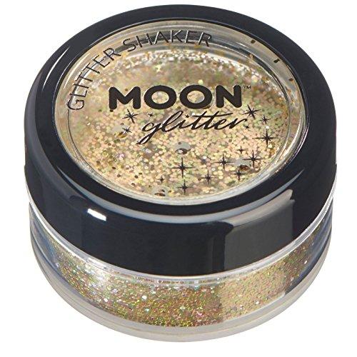 Gold-glitter Make-up (Holographische Glitzer Shaker von Moon Glitter - 100% kosmetischer Glitzer für Gesicht, Körper, Nägel, Haare und Lippen - 5gr - Gold)