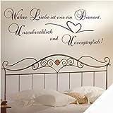 Wandtattoo Zitat Spruch Wahre Liebe mit Ornament inkl. SWAROVSKI (zit13 weiß) 140 x 57 cm mit Farb- u. Größenauswahl