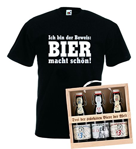 Gift For Him. T-Shirt 3 The Strongest Beers of the World in & Gift Box, S