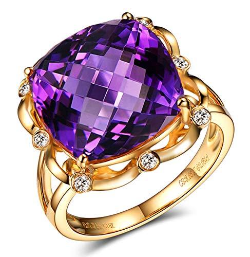 AnazoZ Echtschmuck 14 Karat 585 Gold Damen Ringe 10CT Quadratische Hohle Blume Eheringe Gold Schmuck 62 (19.7)