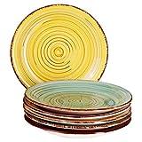 MamboCat Teller-Set Rimini für 6 Personen | Kuchenteller Rund | Ø 19 cm | Kleine Dessert-Teller | Premium Porzellan-Speiseteller | Handbemalt | Mehrfarbig