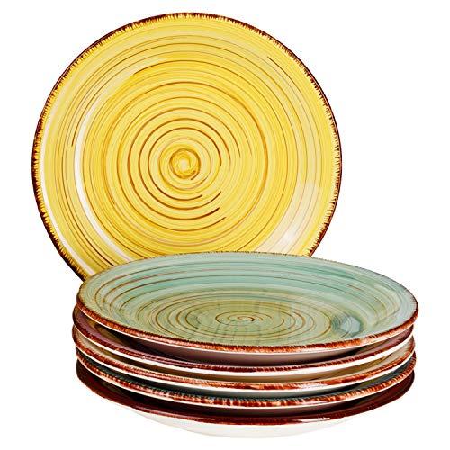 MamboCat Teller-Set Rimini für 6 Personen | Kuchenteller Rund | Ø 19 cm | Kleine Dessert-Teller | Premium Porzellan-Speiseteller | Handbemalt | Mehrfarbig - Dessert-teller