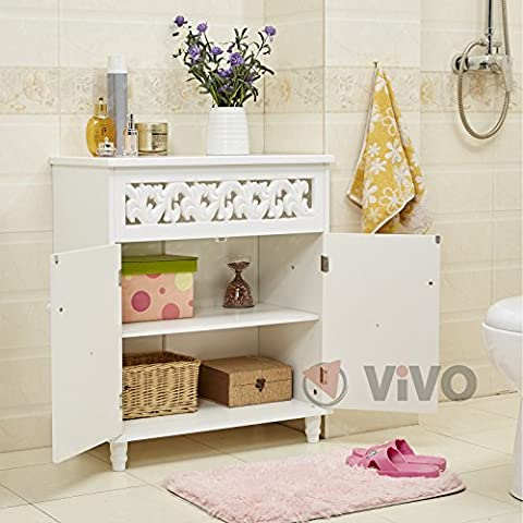Vivo © Cupboard Cabinet Sideboard White Wooden 2 Doors Furniture Freestanding Wardrobe