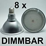 8 x DIMMBARE 18 Watt PAR 38 Retrofit LED Lampe, Fassung E27 - warmweiß 2700K - 1500 Lumen entspricht ca. 150 Watt Glühlampe - 120° Ausstrahlwinkel. Schutzklasse IP44 - für Innenbereiche und Außenleuchten geeignet. Gibt ein sehr angenehmes, warmweißes und flimmerfreies Licht wie eine PAR38 Glühlampe. Besolis PAR38WW-18D