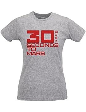 LaMAGLIERIA Camiseta Mujer Slim 30 Seconds to Mars Red Logo - T-Shirt Rock Pop Jared Leto 100% Algodòn Ring Spun