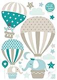 lovely label Wandsticker selbstklebend HEISSLUFTBALLONS TAUPE/MINT/PETROL - Wandaufkleber Kinderzimmer / Babyzimmer mit Tieren in versch. Farben - Wandtattoo Schlafzimmer Mädchen & Junge, Wanddeko Baby / Kinder