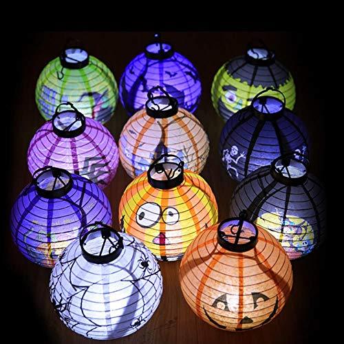 TTYAC 3pcs Halloween Laterne Kürbis Licht leuchtende Dekoration Halloween DIY hängende Dekorationen, 3