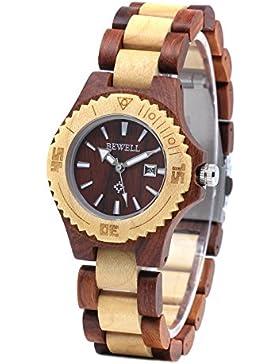 Bewell W020AL Damen Kalender Quarz Analog Fashion Mode Ahorn natürliche Runde Leuchtende Hypoallergen Holz Uhren...