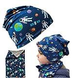 HECKBO® Cappello, Beanie per Bambini + Girocollo | Ideale in Primavera, Estate, Autunno | Berretto Reversibile con Astronauta | 2 - 7 Anni | 95% Cotone | Morbido e Pratico Tessuto Elasticizzato