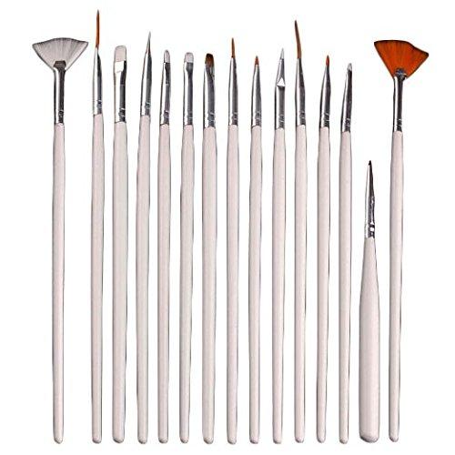 WANGSCANIS® 15pc Nail Art Gel UV Pinceau Design Set Peinture Pen manucure Conseils Outils blanc