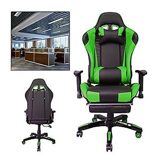 HG® Silla giratoria de oficina Gaming Chair Premium Apoyabrazos tapizados Comfort Racing Chair Capacidad de carga 200 kg Altura ajustable negro / verde
