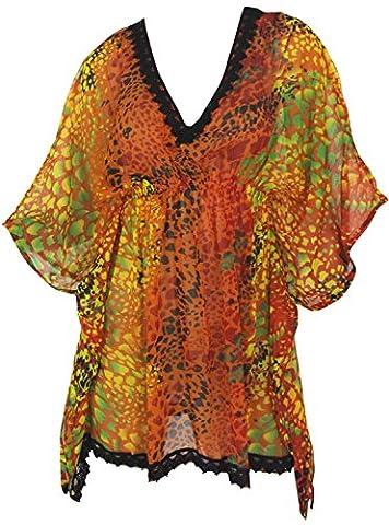 La Leela Zarter Chiffon Kaftan Frauenbadebekleidung Bademode Und Vertuschung Kleid Orange