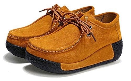 NEWZCERS Chaussures en daim à lacets décontracté pour femmes Marron
