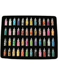 48Mini-Flaschen-Set gefüllt mit Nageldesign-Zubehör: Glitzer-Pulver, Staub, Perlen, Pailletten, für Maniküre und Nagel-Dekoration