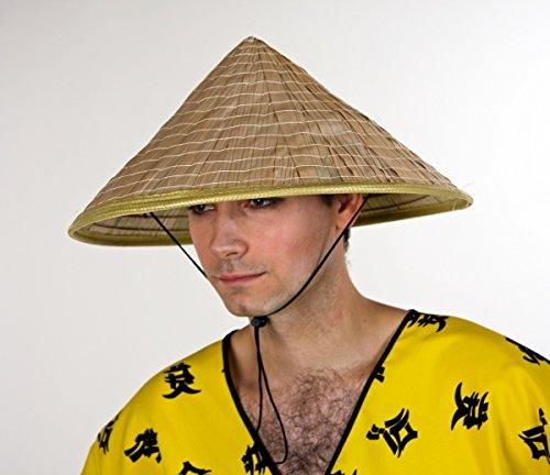 Festartikel Müller Kostüm Zubehör Chinesen Hut aus Stroh naturfarben Karneval Fasching