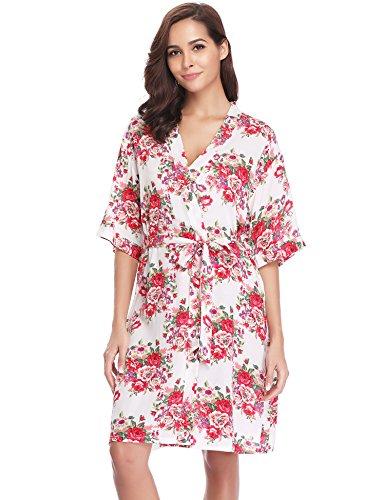 Aibrou Damen Morgenmantel Kimono Blumen Kurz Baumwolle Nachthemd Nachtwäsche V Ausschnitt mit...
