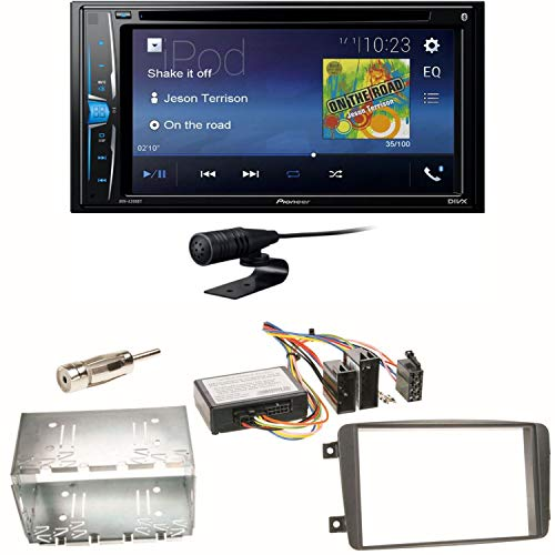 Pioneer AVH-A210BT USB Autoradio Touchscreen Bluetooth Moniceiver Autoradio CD DVD MP3 Freisprecheinrichtung WAV AUX AAC DivX Einbauset für Mercedes C-Klasse W203 CLK W208 W209