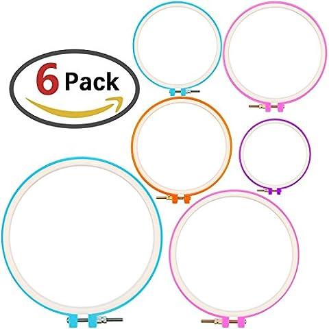 Zesgood Lot de 6passant de plastique pour broderie, broderie Hoops Cercle Ensemble en 6tailles différentes - Grande Embroidery Hoop