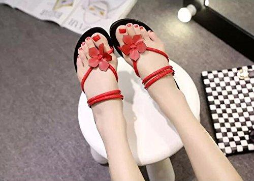 Sommer Flache Damen Pantoffeln Sandalen Rot