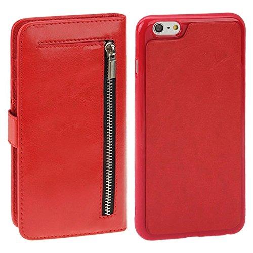 Phone case & Hülle Für iPhone 6 Plus / 6S Plus, 2 in 1 Trennbare Crazy Horse Texture Wallet Style Flip Leder Tasche ( Color : Red ) Red