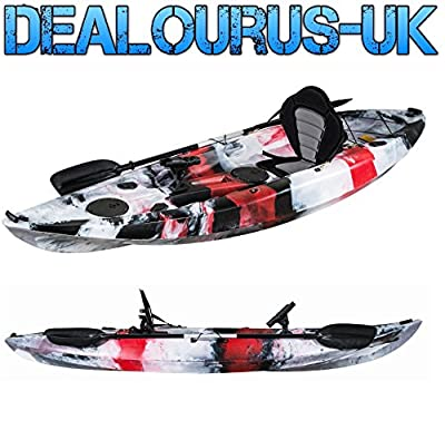Dealourus Single or Tandem Sit On Top Fishing Kayak. With Rod Holders, Storage Hatches, Padded Seat & Paddle (Red Camo) from Dealourus