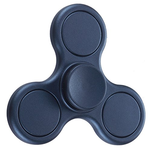 Fidget Spinner,POAO Inger Metal Tri-Spinner Portátil Fidget Trabajo Ultra Rápido Rodamientos Juguete de Dedo Bueno Para Aliviar el Estrés ADHD EDC Tiempo de Matar a Mano (Blanco) (azul marino)
