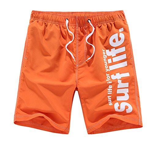 Herren Breathable Bermuda Jogginghose Drucken Shorts Kurzehose Lose Sportshorts Groß Größe Jungen Plus Size Orange