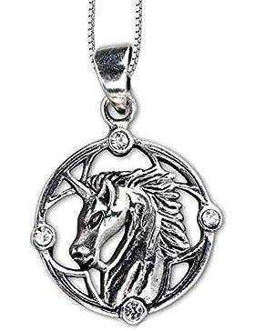 Anhänger Einhorn mit klaren Zirkonia Kristall Steinen 925er Silber Schmuck Einhornanhänger mit Kette Halskette...