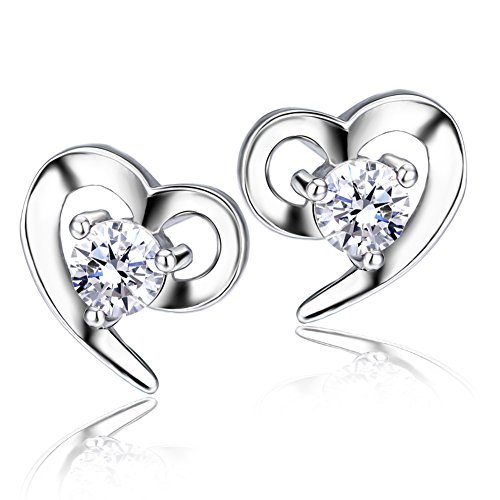 F.ZENI Ohrringe Silber Damen 925 Sterling Silber ohrstecker Liebe Herz Zirkonia Ohrringe für (Ideen F Kostüme)