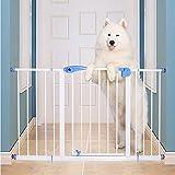 Haustier Tür für Treppen Flur Tür Baby Tore Extra Wide Druck Mount Tall Passt Räume, 82-200 cm Breit, Höhe 100 cm, Weiß (Größe : 112-120cm)