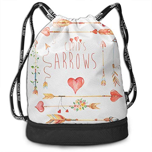 MLNHY Arrows Сupid's Watercolour Clipart 1 Drawstring Bag for Men & Women - Cinch Backpack Sackpack Tote Sack with Wet & Dry Compartments for Travel Hiking Gym Womens Cinch